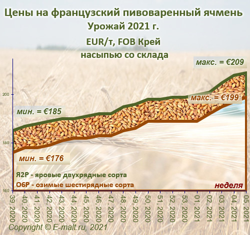 Средние цены на французский ячмень урожая 2021 г. (13/02/2021)